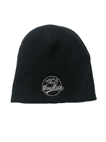 "Speak to the Mountain- Black 8"" Knit Beanie"