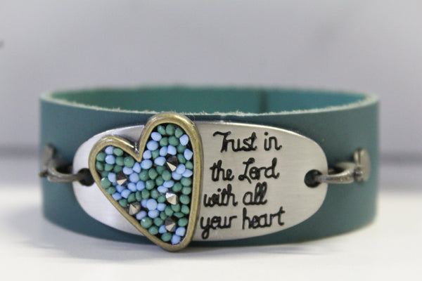 Trust in the Lord- Teal Leather Bracelet