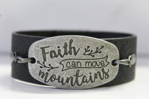 Faith can move Mountains- Black Faux Leather Bracelet w/Embossed