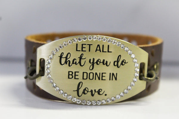 Done in Love- Brown Leather Bracelet