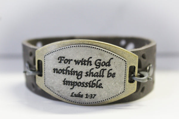 Nothing is Impossible- Grey Leather Bracelet
