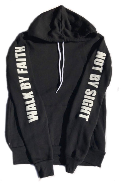Walk by Faith-Black Unisex Pullover Hoody