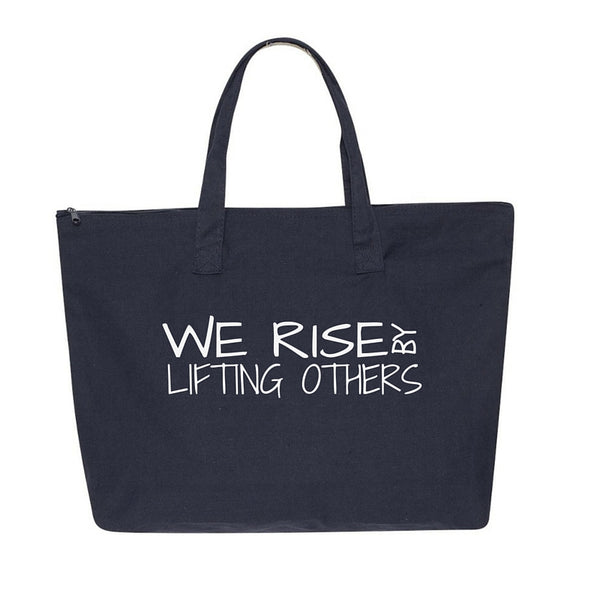 We Rise By Lifting Others-Large Navy Tote Bag