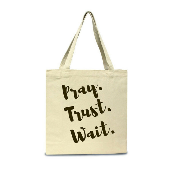 Pray. Trust. Wait.-Jumbo Canvas Shopper Tote