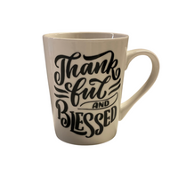 Thankful & Blessed - White Tapered Stoneware Mugs, 14 oz.