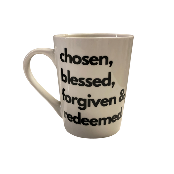 Chosen... - White Tapered Stoneware Mugs, 14 oz.