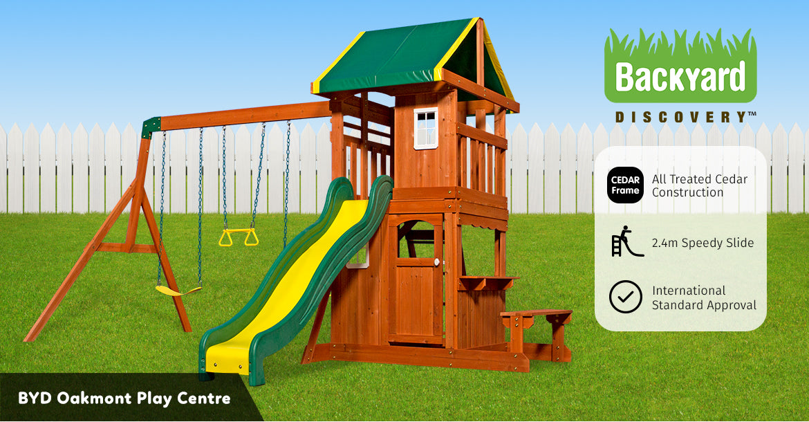 Details About Backyard Discovery Oakmont Play Center All Cedar Wood Playset Swing Set