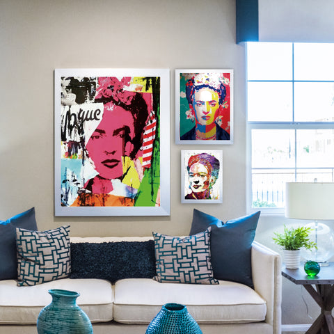 Frida In Colours Canvas - Frida Kahlo - Wall Art - Raw Deco Lab