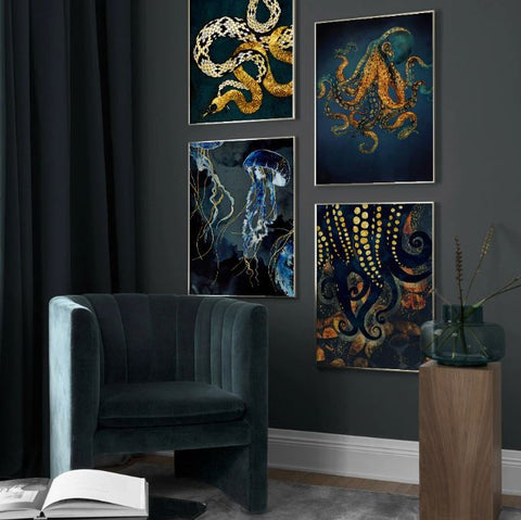 Magical Sea Creatures Canvas - Wall Art - Raw Deco Lab