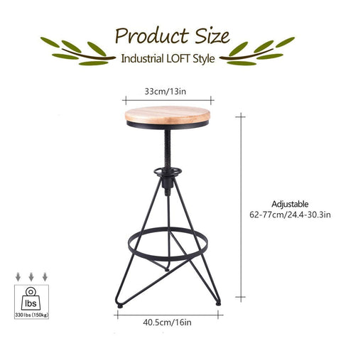 Oreo Industrial Design Barstool - Dimensions - Raw Deco Lab