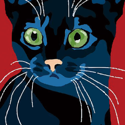 Billy The Cat Canvas - Black Cat On Red Background - Raw Deco Lab