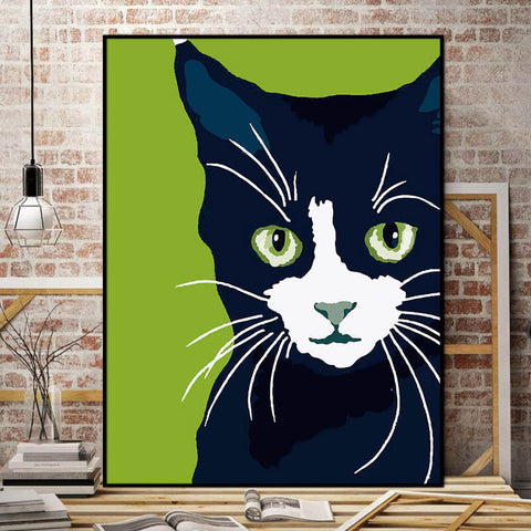 Billy The Cat Canvas - Black And White Cat On Green Background - Raw Deco Lab