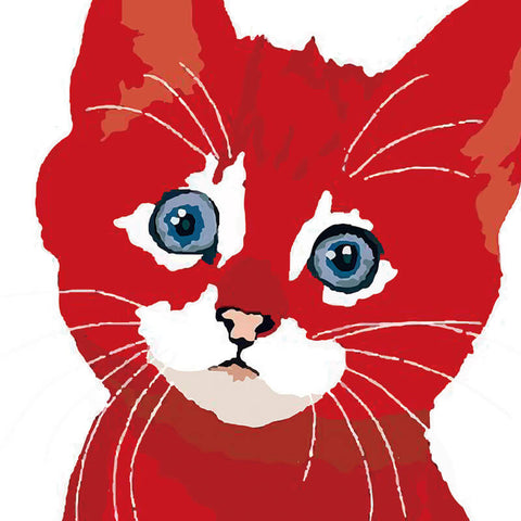 Billy The Cat Canvas - Red Cat On White Background - Raw Deco Lab
