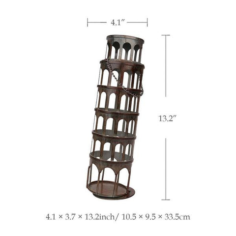 Leaning Tower of Pisa Wine Bottle Holder - Dimensions - Raw Deco Lab