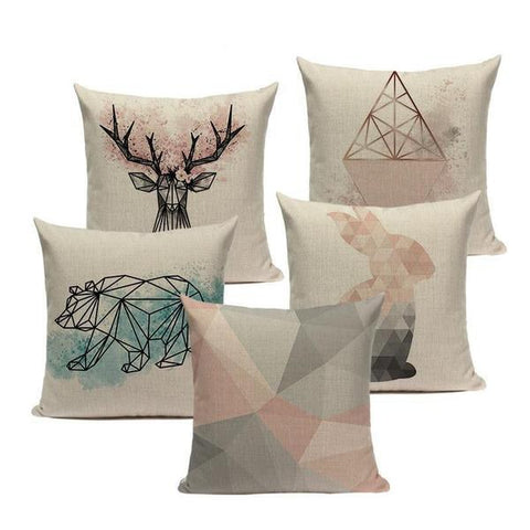 Nordic Forest Pillowcases - Cotton Linen Pillowcases - Home Decorations - Raw Deco Lab