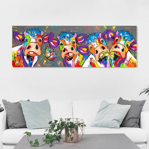 Colorful Cow Canvas - Raw Deco Lab