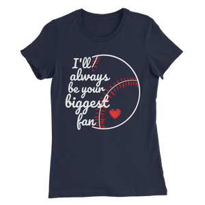 Women's Slim Fit T-Shirt: Biggest Fan White & Red