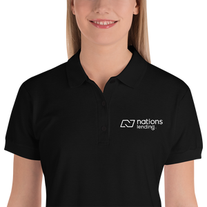 Embroidered Women's Polo Shirt: NATIONS WHITE