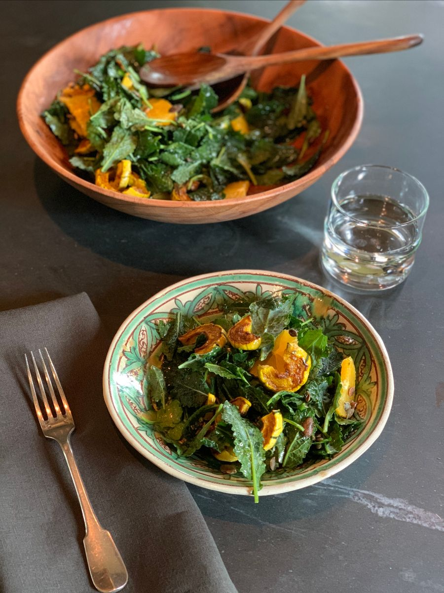Kale and Turmeric-Roasted Squash Salad with Citrus and Pounded Parsley Dressing