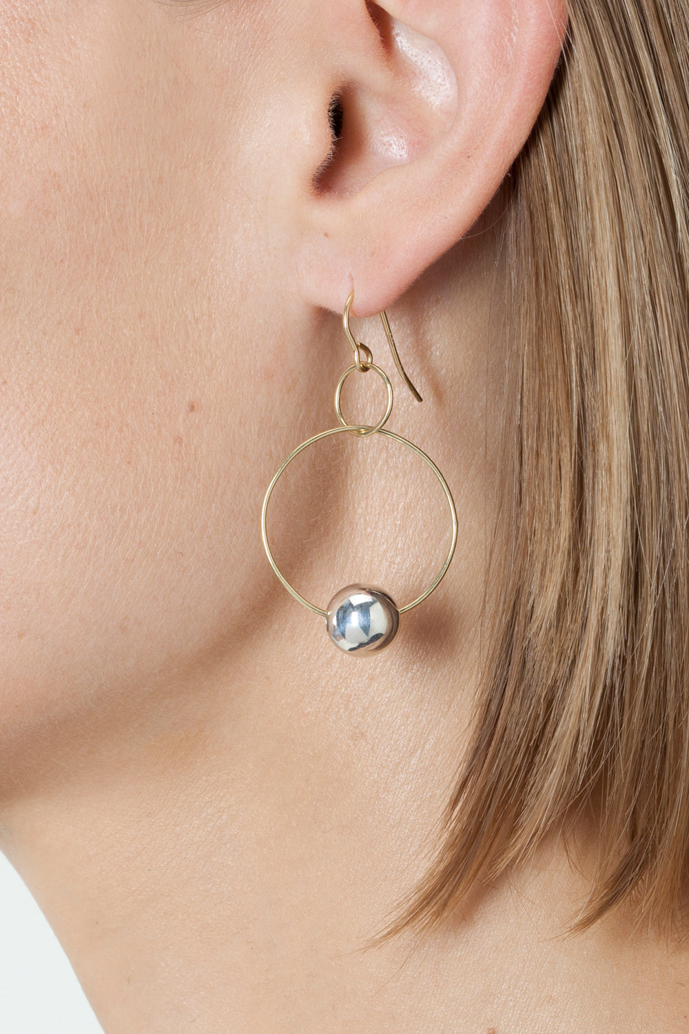 BLUNK DOUBLE HOOP EARRINGS - Gold & Silver