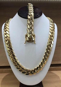 "Swisssuny Cool Mens 18k Yellow Gold Tone 14.5mm Stainless Steel Necklace 20"" 22"" 24"" 30"" 35"" Miami Cuban Curb Link Chain Hip hop"