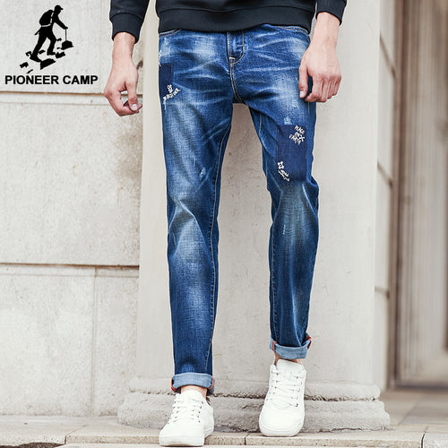 Pioneer Camp ripped Jeans men brand clothing high quality male jeans fashion casual mens denim pants trouser for men 611043
