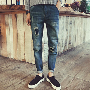 Top Selling Mens Holes jeans fashion Knife Cut Denim Pants Rock Style Slim Fit jeans For Men 2018 spring midweight Free shipping
