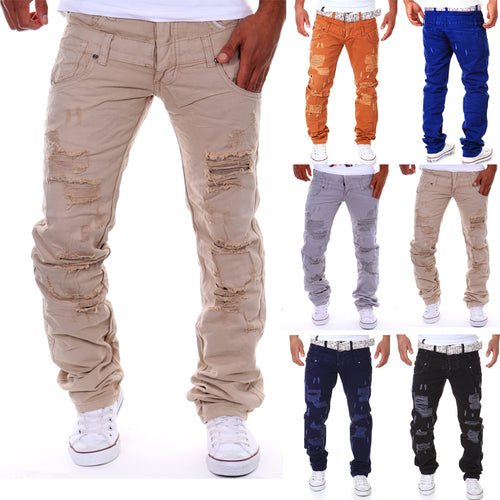 Spring and summer new men's double waist hole broken leisure trousers
