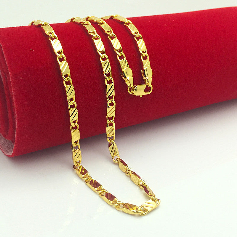 Brand new 24K gold necklaces chain super deal gold chain men jewelry vacuum plated 50 cm new fashion jewelry high quality B062