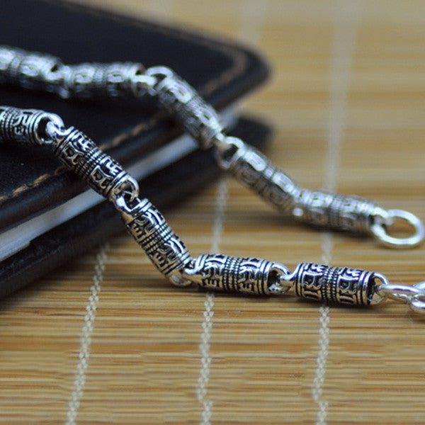 V.YA 100% Real Pure 925 Sterling Silver Necklace Men Keep safe chain Mantra retro Thai Silver Chain Necklace Free Shipping HYC01