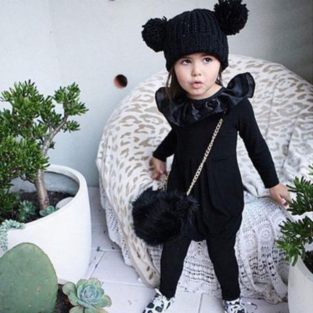 Newborn baby romper black  Infant Kids Baby Girsl Long Sleeve Solid Ruffle Romper Outfits Clothes drop shipping