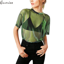 Gamiss 2017 Women Sexy Shimmer Mesh Tee See-Through Women T-Shirts Short Sleeve Perspective Shine Casual Tops Vintage Blusa