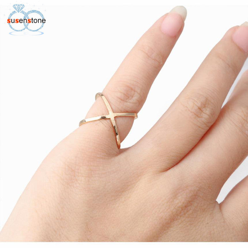 SUSENSTONE Fashion Cross Joint Stereo Surround Ring Hollow