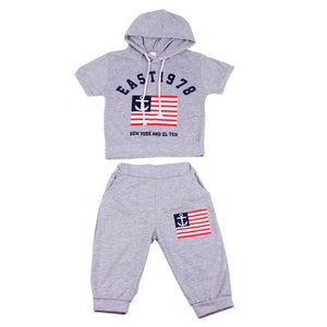 Hot New 2017 Summer Boys Flag Letter Print Children Clothing Set Baby Clothes Short-Sleeve T-shirt Hoodies Pants Kids Sport Suit