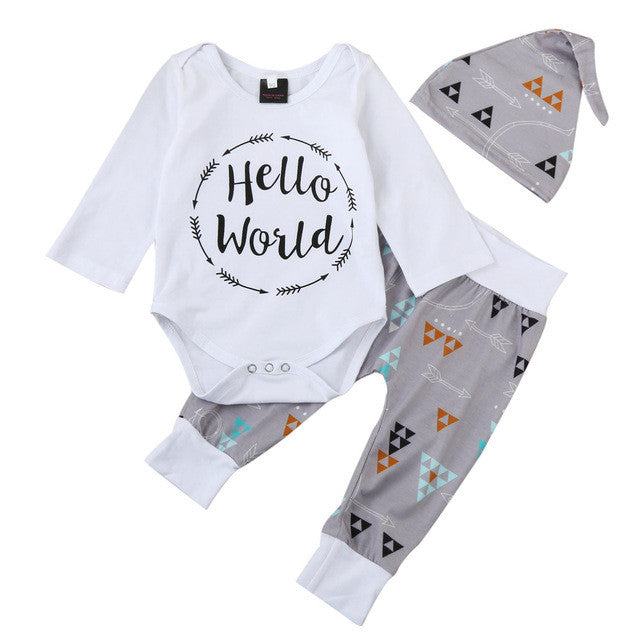 3pcs autumn Infant kids Baby Boy Romper long sleeve hello world letter Print Tops Triangle Pants Legging Hat Outfit Set Clothes