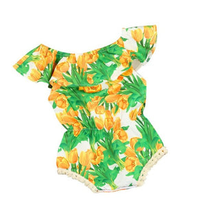 2017 kids clothes baby girls rompers tulip floral girl romper summer Children clothing Off Shoulder Toddler Baby Girl Jumpsuit