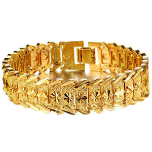 Gold Plated Noble Men's Women's Bracelets New Design Bangle Wrist Chain