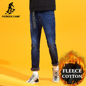 Pioneer Camp winter warm fleece jeans men brand-clothing straight dark blue thicken denim pants male quality trousers ANZ710004