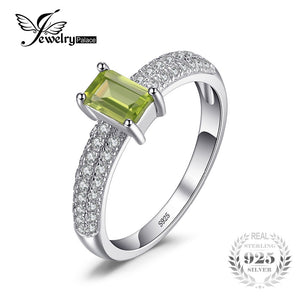 JewelryPalace Classic 0.87ct Emerald Cut Natural Peridot Engagement Ring For Women Solid 925 Sterling Silver Ring Fine Jewelry