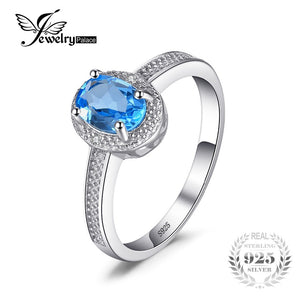 JewelryPalace New Classic 1ct Oval Natural Blue Topaz Charm 925 Sterling Silver Engagement Rings for Women Gemstone Fine Jewelry