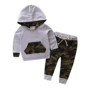Toddler Kid Baby Boy Set Clothes Hooded Tracksuit Top +Pants Camouflage Outfits