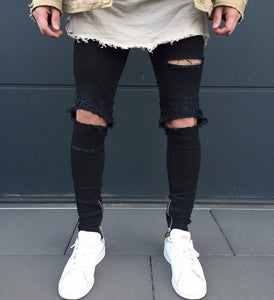 Mens Ripped Slim Fit Motorcycle Vintage Denim Jeans Hiphop Streetwear Pants