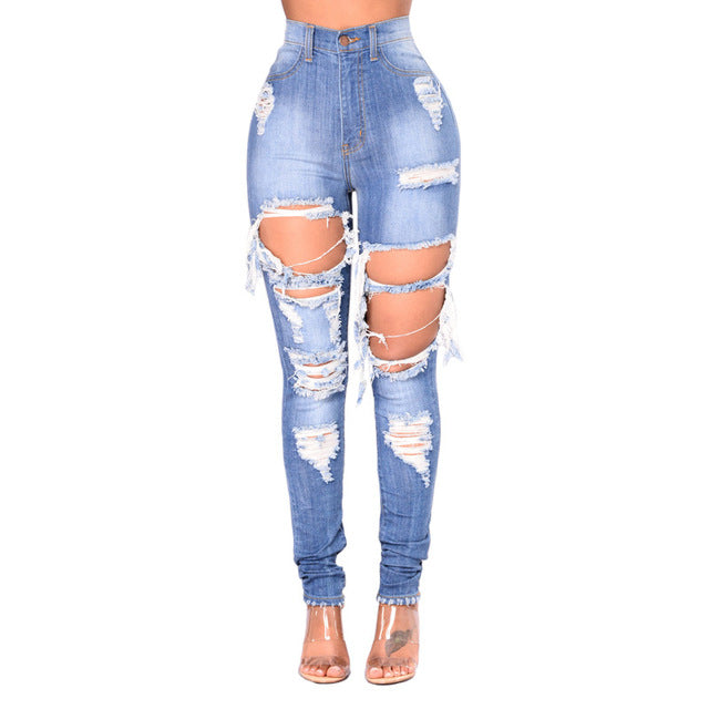 LALA IKAI Ripped Jeans For Women Blue Hole Plus Size Mom Jeans American Apparel Ladies Destroyed  Skinny Jeans Femme KWA0490-5
