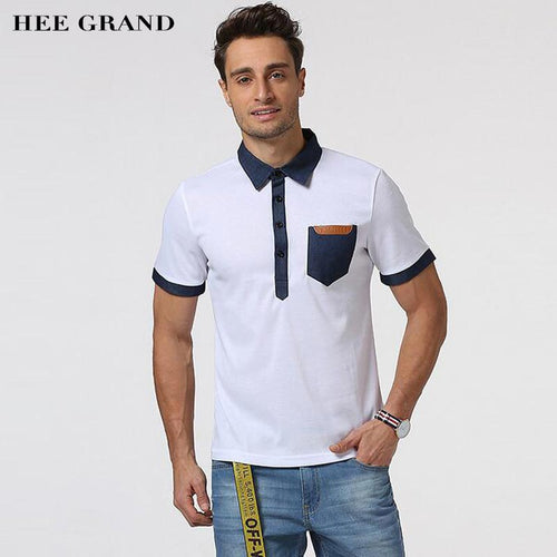 HEE GRAND 2018 New Arrival Men Summer Short Sleeve Polo Main Cotton Material Demin Spliced Pocket Design Male Polo Shirt MTP472