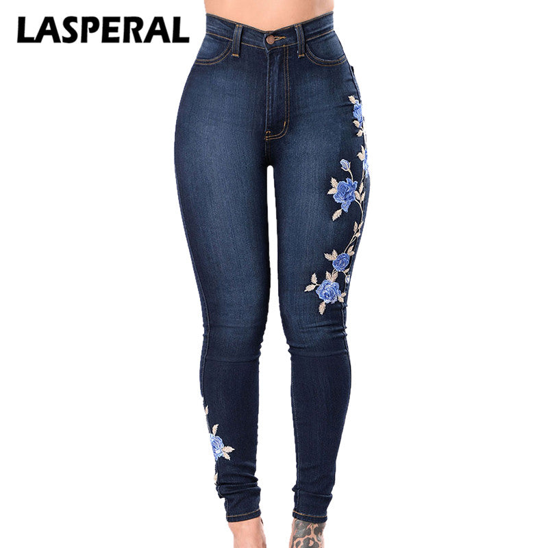 Jeans Women Ladies High Waist Skinny Jeans Woman Stretchy Dark Blue Button Fly Denim Skinny Pants Jean Trousers Femme Mujer Bottoms
