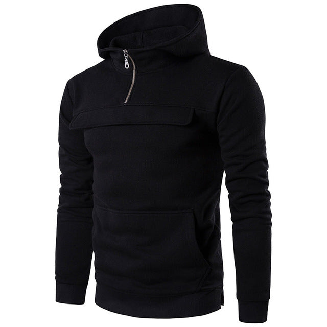 2018 Men's Cotton Fleece Hoodie Zip Up Neck Hooded Sweatshirt Casual Warm Baseball Jacket Autumn Winter Hoody Tracksuit Pullover