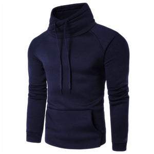 2018 New Fashion Mens Hoodies Autumn Spring Tracksuit Sweatshirt Solid Color Turtleneck Long Sleeve Male Hooded Hoodie Pullovers