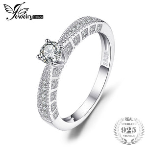 JewelryPalace 0.45ct Cubic Zirconia Engagement Wedding Ring Real 925 Sterling Silver Anniversary for Women Special Gift