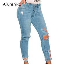 Ailunsnika Ripped Jeans for Women Dark Blue Denim Destroyed Ankle Length Skinny Jeans Mid Waist Women Jeans XXL Size LC78677