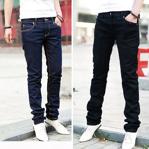 Men Casual Jeans Pencil Pants Stylish Designed Straight Slim Fit Trousers 6475